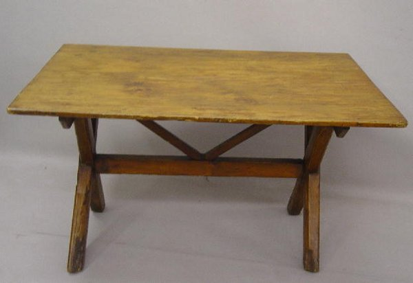398: PRIMITIVE SAWBUCK TABLE. Pine with old r