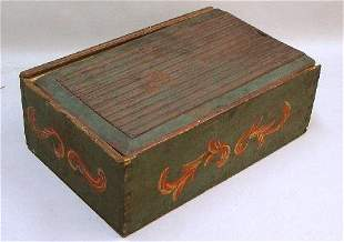 LARGE SLIDE LID BOX WITH OLD PAINTED DEC