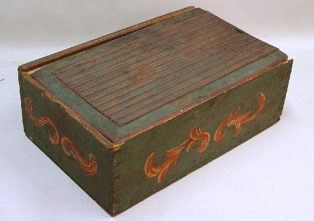 399: LARGE SLIDE LID BOX WITH OLD PAINTED DEC