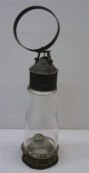 EARLY TIN AND GLASS CANDLE LANTERN. New