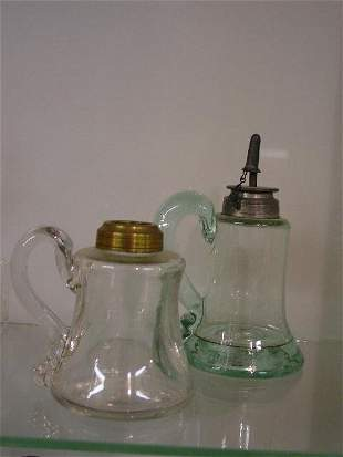 TWO PETTICOAT OIL LAMPS. Both have appli