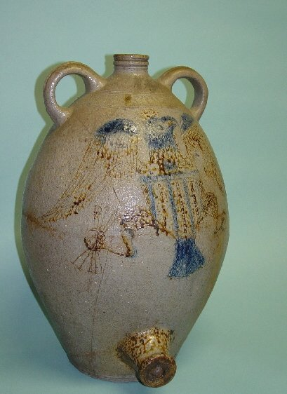 177: EARLY STONEWARE COOLER WITH INCISED EAGL