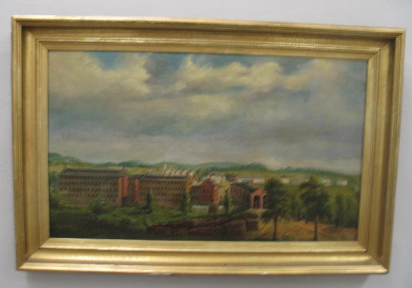 1: OIL ON CANVAS PAINTING. Landscape with a town showin