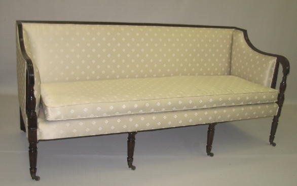 2: SHERATON SOFA. Mahogany. Reeded top rail and shaped