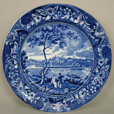 "8: HISTORICAL BLUE STAFFORDSHIRE PLATE. ""Fair Mount nea"