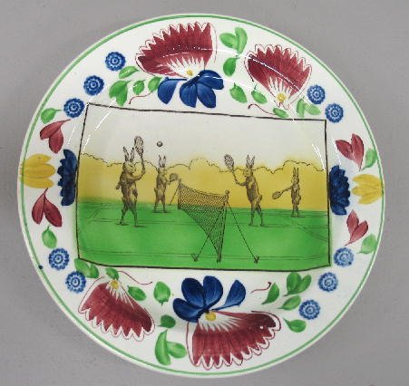 13: GAUDY IRONSTONE CHARGER. Transfer of tennis playing