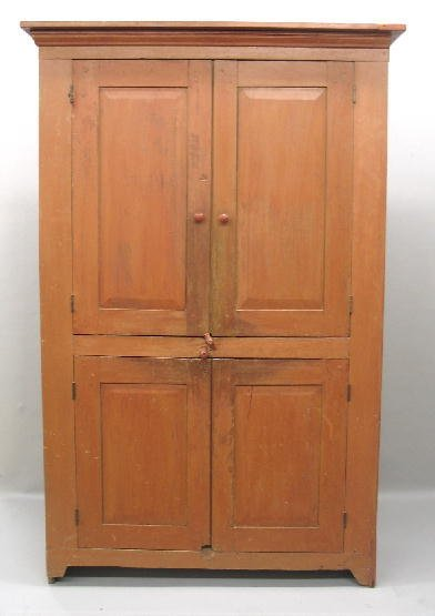 15: PAINTED COUNTRY CUPBOARD. One-piece pine cupboard w
