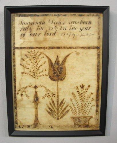 2: FRAKTUR. Brown ink design on paper of a tulip, a sty