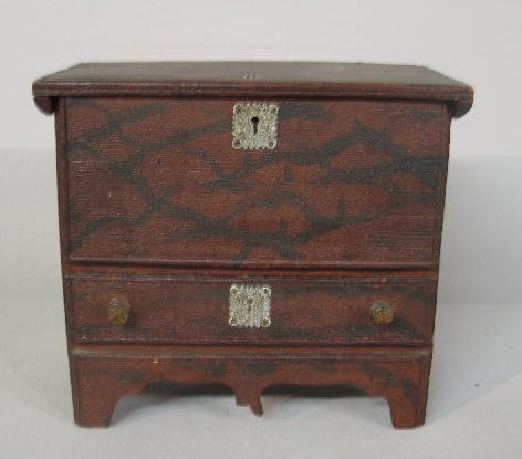 4: MINIATURE MULE CHEST. Soft wood with original red an