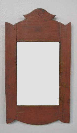 6: PAINTED MIRROR. Small hanging mirror with a cutout c