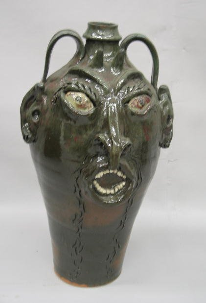 12: LARGE HUSSEY SOUTHERN POTTERY GROTESQUE JUG. Double