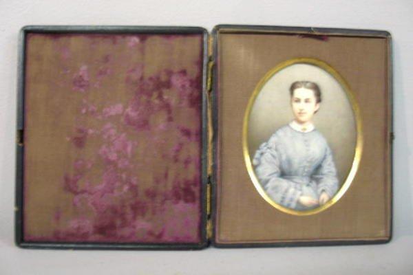 23: MINIATURE ON IVORY. Large three-quarter portrait of