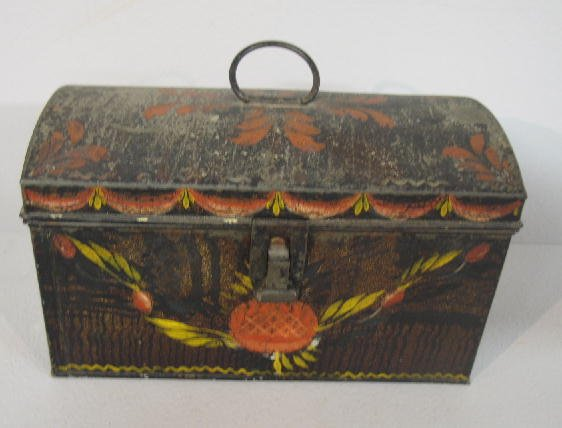 24: PAINTED TIN DOCUMENT BOX. Attributed to northern Ne