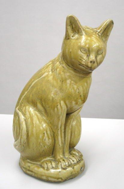 71: RARE MOGODORE, OHIO, POTTERY CAT. Seated cat made f