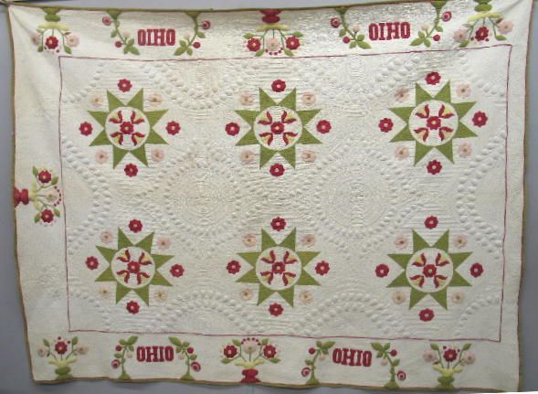 EXCEPTIONAL OHIO TRAPUNTO QUILT. Cotton applique.