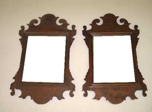 352: PAIR OF SMALL CHIPPENDALE MIRRORS. Mahogany: one w