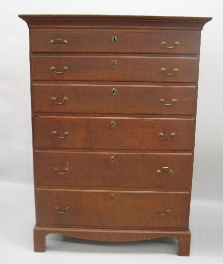 368: DECORATED COUNTRY CHIPPENDALE HIGH CHEST. Birch wi