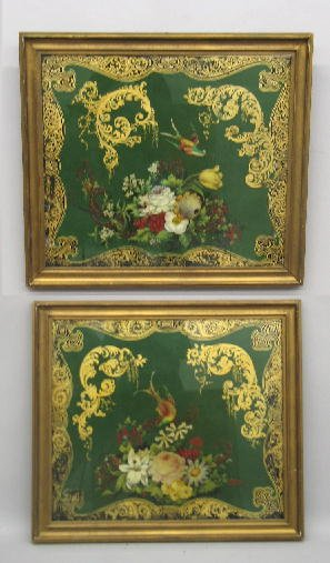 370: TWO PAINTED TIN  PANELS. Similar framed depictions