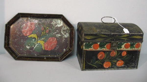 371: TWO PIECES OF PAINTED TIN. Pictured is an octagona