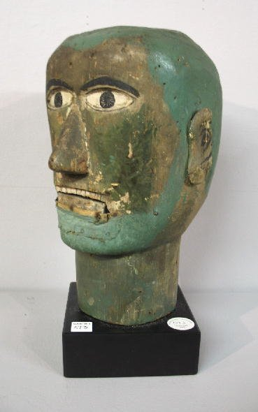 373: CARVED WOODEN VENTRILOQUIST'S DOLL HEAD. Pine with