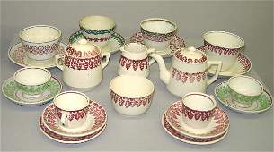 415 STICK SPATTER CERAMICS Childs tea set for four