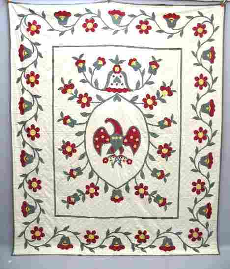 EAGLE QUILT. Appliqued cotton summer quilt. Large