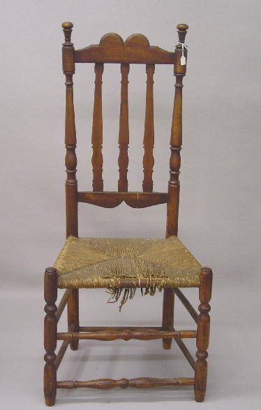2: COUNTRY QUEEN ANNE BANNISTER BACK SIDE CHAIR. Attrib