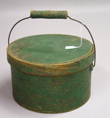 3: BENTWOOD STORAGE BOX IN ORIGINAL GREEN PAINT. Steel