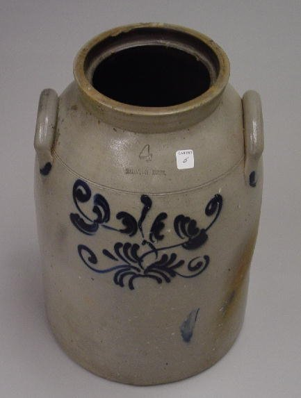 "5: DECORATED STONEWARE JAR. Impressed ""Taunton, Mass.,"