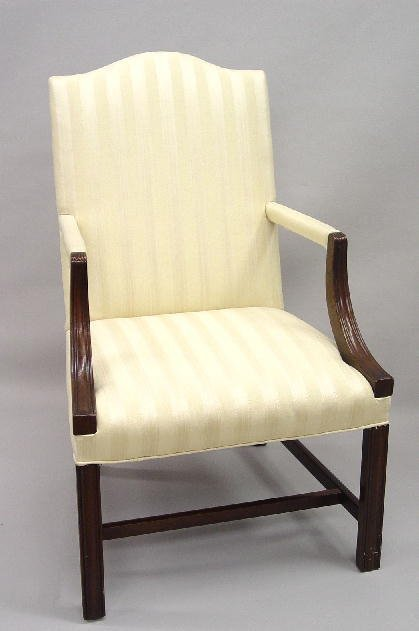 7: PAIR OF CHIPPENDALE STYLE ARMCHAIRS. Mahogany frames