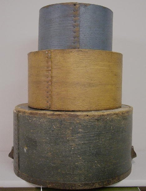 10: STACK OF THREE BENTWOOD GRAIN MEASURES IN OLD PAINT