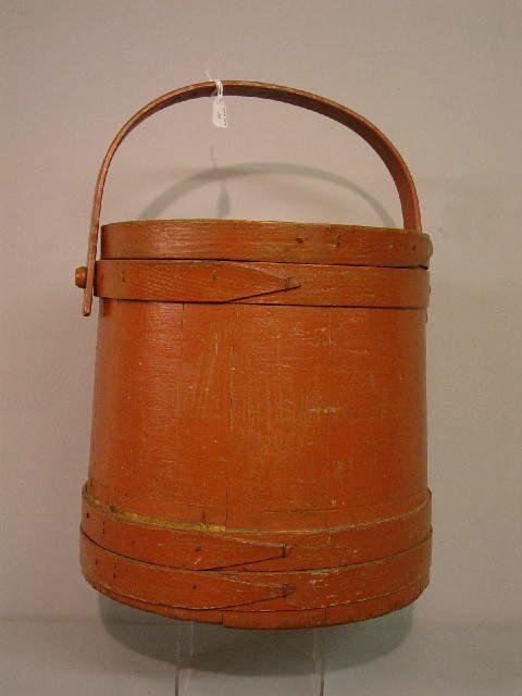 11: COVERED SUGAR BUCKET. Old brick colored paint with