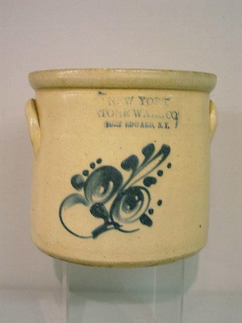 12: SMALL DECORATED STONEWARE CROCK. Impressed sinature