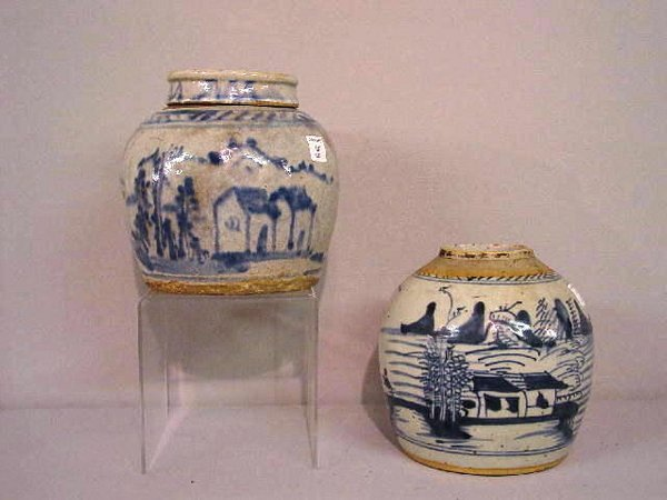 15: TWO GINGER JARS. One is oriental with blue on white