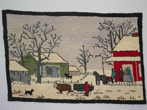 16: PICTORIAL HOOKED RUG. Winter scene of a country gat