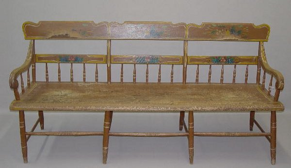 17: DECORATED SETTLE BENCH. Pennsylvania. Old decoratio