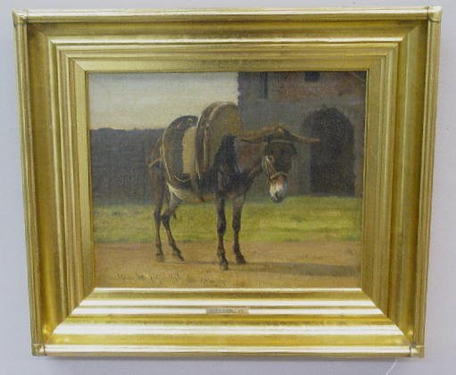 "19: OIL ON CANVAS PAINTING BY ""HASLUND"". Donkey with a"
