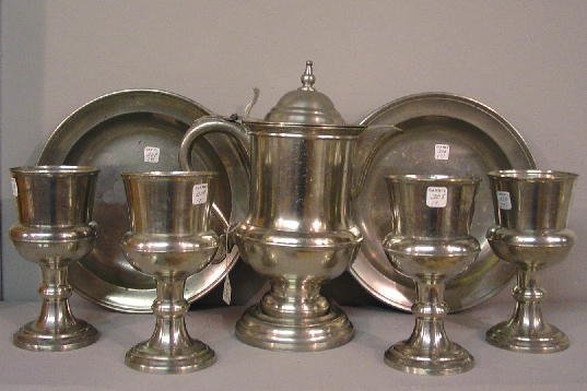 308: SEVEN-PIECE PEWTER COMMUNION SET. Touchmarks for ""