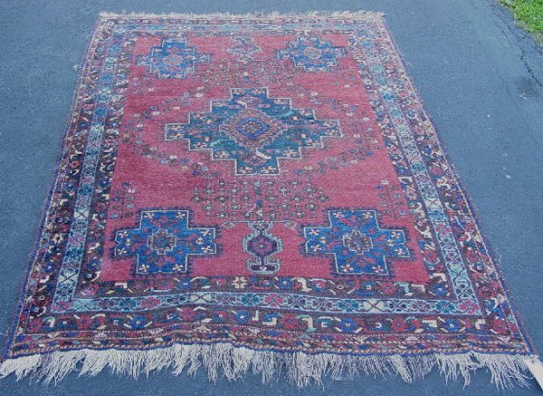 383: ORIENTAL RUG. Afshar. Multiple blue and brown bord