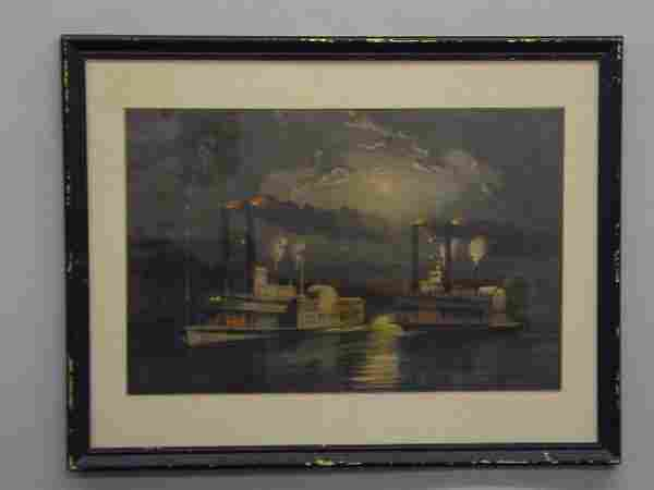 """386: HANDCOLORED LITHOGRAPH BY """"CURRIER & IVES"""". Large"""