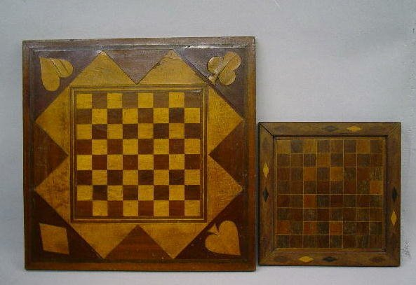 387: TWO INLAID GAMEBOARDS. Both are walnut with maple
