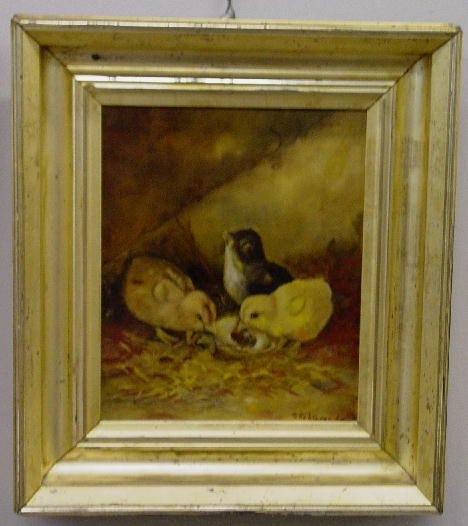 388: OIL ON CANVAS PAINTING. Three chicks pecking at an