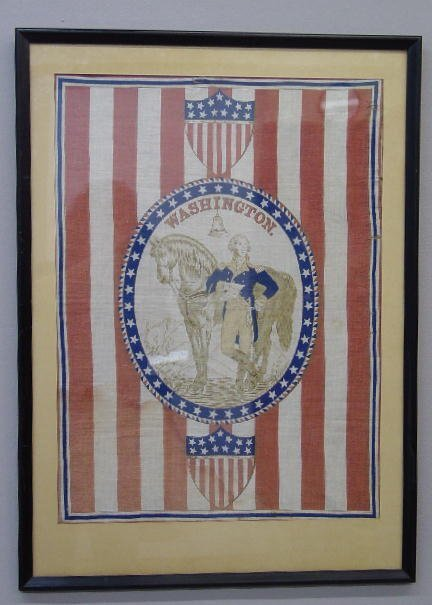 392: FRAMED PATRIOTIC TEXTILE. Likely made for the cent