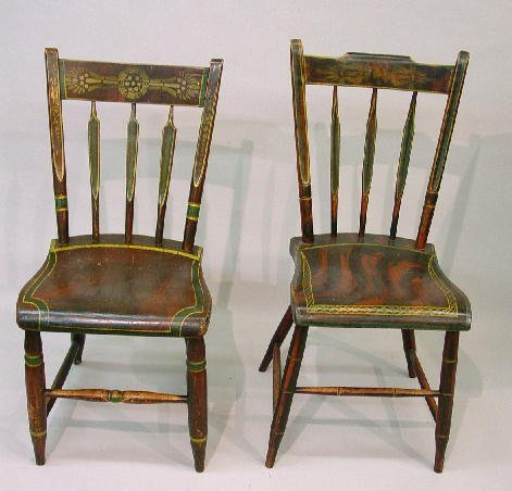 394: SIX PLANK SEAT CHAIRS IN ORIGINAL DECORATION . All
