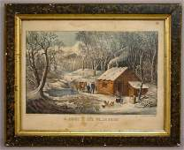 823 HANDCOLORED LITHOGRAPH BY CURRIER  IVES A fami