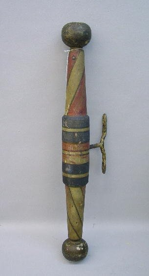 842: TURNED WOODEN BARBER POLE IN OLD PAINT. Red, blue