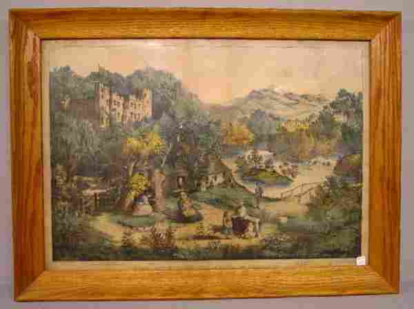 """927: HANDCOLORED LITHOGRAPH BY """"CURRIER & IVES"""". Large"""