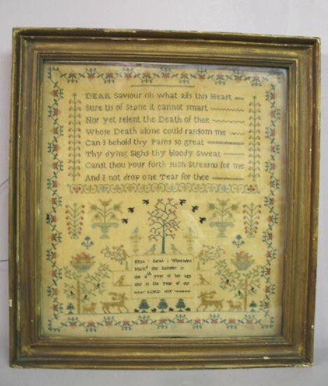 "1: SAMPLER. ""Eliza Sarah Wissenden  age 8  1815"" Silk o"