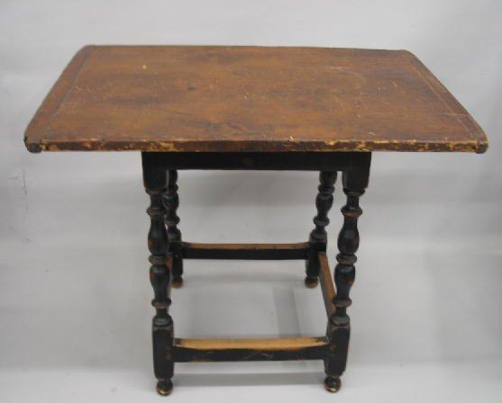 3: TAVERN TABLE WITH STRETCHER BASE. On-board pine scru