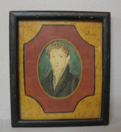 7: WATERCOLOR PORTRAIT. Small painting of a young man w